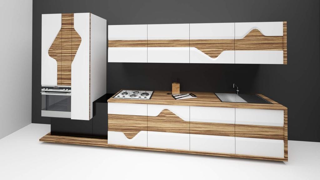wave mobilier editie limitata fronturi tridimensionale lemn masiv print furnir002