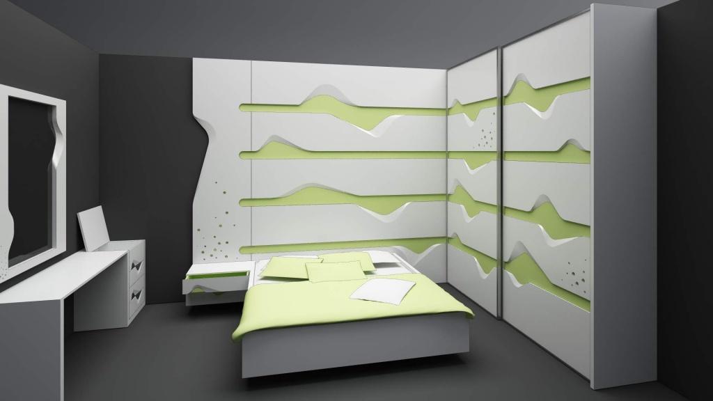 wave mobilier editie limitata fronturi tridimensionale lemn masiv print furnir003