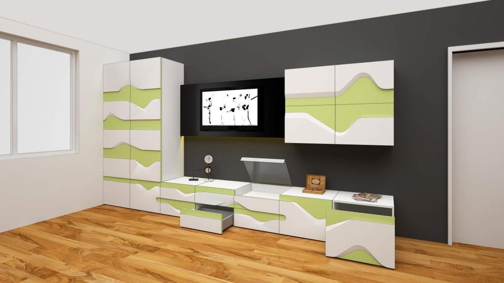 wave mobilier editie limitata fronturi tridimensionale lemn masiv print furnir004