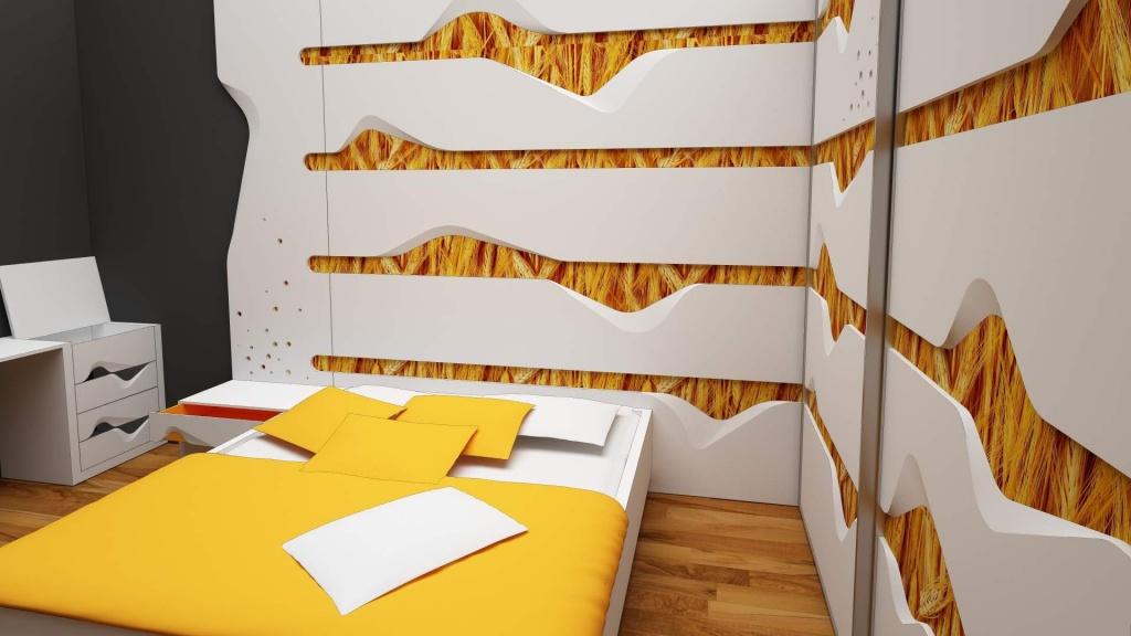 wave mobilier editie limitata fronturi tridimensionale lemn masiv print furnir006